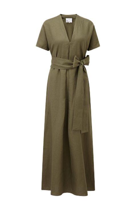 Lisa Marie Fernandez 'ROSETTA' Olive LInen Caftan Dress