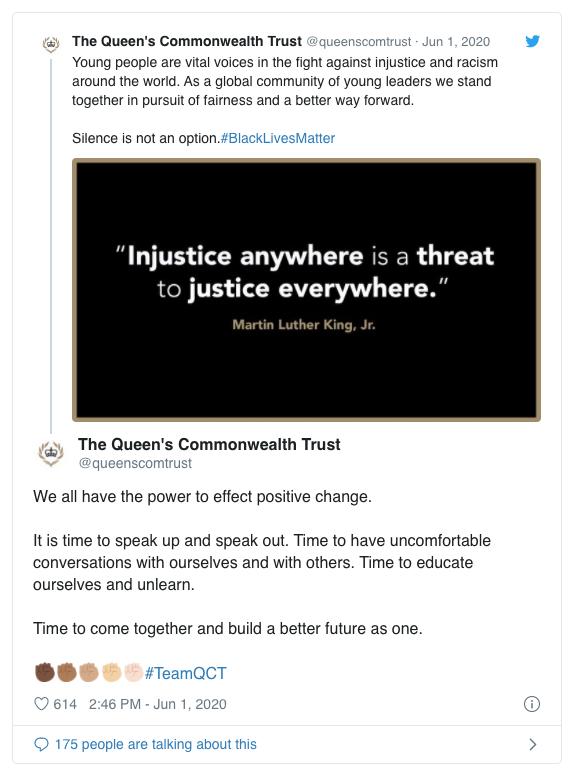 Queens Commonwealth Trust tweet