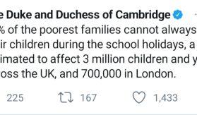 Kensington Palace tweet about poor families