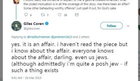 Giles Goren confirms William's affair