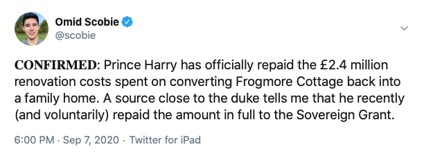 Harry pays back Frogmore Cottage money