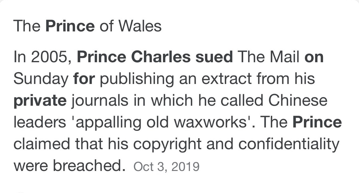 Prince Charles Lawsuit for copyright infringement