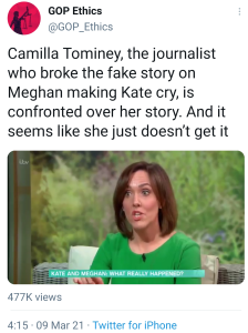 Camilla Tominey lying about Meghan