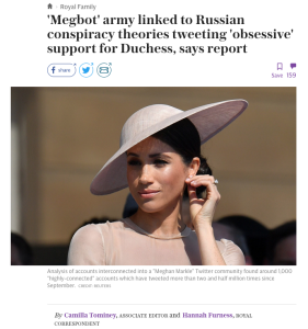 Camilla Tominey lies Megbot